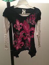 Beautees Girl's Black Red White Long Sleeve Top Tunic Fleur de Lis Size M Medium