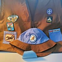 Vintage Beavers Canada Hat With Tail and Vest with Patches.
