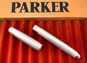 Parker 51 Cisele Customized FP Cap & Barrel in White Sterling Silver (#CM191)
