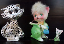 Vintage 50s Kreiss Japan Green Powder Puff Pottery Cat Figurine + Earring Holder