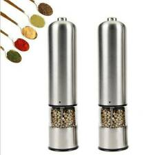 2X Light Up Electric Salt & Pepper Mill Stainless Steel Electronic Grinder Pots