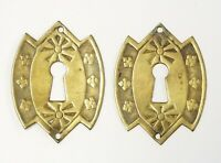 Pair Vintage Escutcheon Solid Brass Key Hole Cover Furniture Drawer Hardware