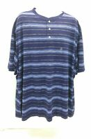 CHAPS Big and Tall Mens Short Sleeve Henley Shirt Blue Striped Size 4XB
