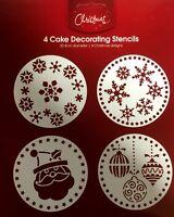 New 4pc Christmas Cake Decorating Stencils Xmas Cake Mould Icing Fondant Spray