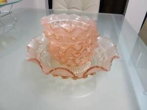 Pink Depression Glass Desert Bowl Set 6 Piece - Deer Park. VIC.