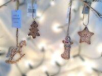 Gisela Graham Christmas Glittered Resin Gingerbread Tree Star Decorations 7.5cm
