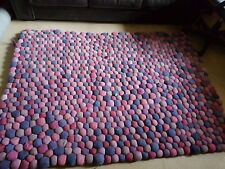 BOBBLE Rug - PURPLES, PINKS, LILAC - WELL USED - 180cm X 130cm