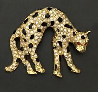 Vintage cheetah  Brooch Pin ienamel Gold Tone Metal With crystals .