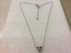 "Judith Ripka 925 Sterling Silver Swiss Blue Topaz CZ Necklace 18""- 20"" Long"