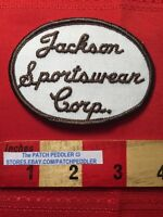 Vtg Advertising Jacket Patch JACKSON SPORTWEAR CORP Surname Last Name 61B1
