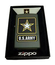 Zippo Custom Lighter Green US Army Black Star Primary Regular Green Matte New