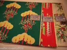 "Vintage Christmas Holiday Gift Wrap Wrapping Paper 6 sheets 30"" x 20""  Dennison"