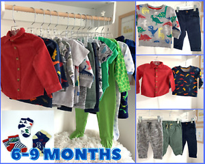 Dino Theme Baby Boys 6-9 Months Clothes LARGE Bundle Trousers Tops T Shirts Gown