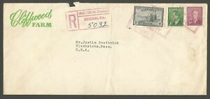1952 Advertising Registered Cover 23c MOTO Hamilton Chedoke Ont Cliffwood Farms