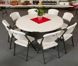 "Lifetime 60"" Round Commercial Grade Nesting Folding Table s"