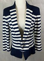 White House Black Market Jacket Blazer Size 14 Navy White Stripes 3/4 Sleeves