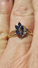 SAPPHIRE MARQUISE CUT & DIAMOND RING 10KT SOLID YELLOW GOLD