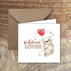 "LOCKDOWN VALENTINES CARD ""Lockdown Lover"" Design with envelope"