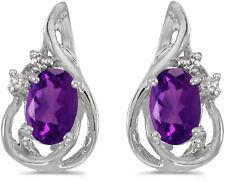 14k White Gold Oval Amethyst And Diamond Teardrop Earrings