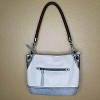 The SAK Beige Gray Leather Shoulder Bag Purse Handbag SOFT