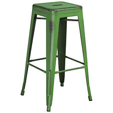 """Tolix Style Outdoor Metal Backless 30"""" Bar Stool Distressed Antique Green"""