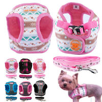 Small Medium Dog Harness and Leash set Mesh Harness Vest Rope for Chihuahua S-XL