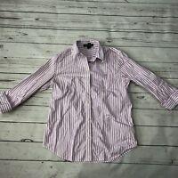 LRL Ralph Lauren S Striped Button Down Shirt Blouse Purple Logo 3/4 Sleeves