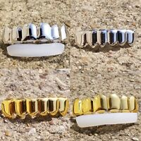 18K Plain Gold Silver Plated  GRILLZ Tooth Top & Bottom Hip Hop mouth Grill SETS