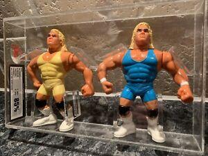 WWF Hasbro Mr Perfect Wrestling Action Figure UKG Graded 85% Rare Set Of 2 Cased