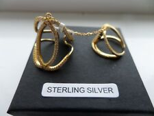 ELANZA AAA SIMULATED WHITE DIAMOND STERLING SILVER 2 RINGS WITH CHAIN Y GOLD O/L