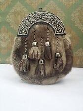 Mens Full Dress Kilt Sporran Formal Seal Skin Celtic Cantle Antique/Kilt Sporran