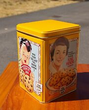 Nestle Chocolate Toll House Cookies Yellow Empty Metal Tin 1939 1942 1954 Logos
