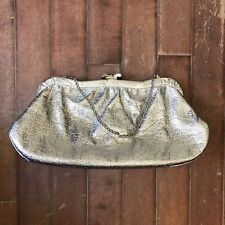 Silver Vintage 1960s Womens Clutch Handbag Purse w/ Silver Gloves
