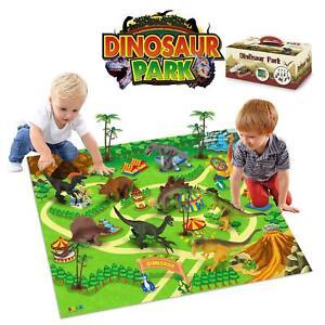 SOKA Dinosaur Jurassic Toy Figure Set with Activity Play Mat & Trees for kids