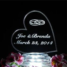 Personalized Custom Lit Wedding Cake Topper Acrylic Side Heart with Rings Lights