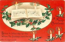 Ellen Clapsaddle~Christmas Song Book~Lit Candles~His Footsteps Mark The Way~Emb