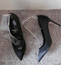 Miss Selfridge Black Satin LACIE Mid Heel Pointed Court Shoes, Size UK 4 EU 37