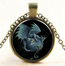 Vintage dragon Cabochon bronze Glass Chain Pendant Necklace #100