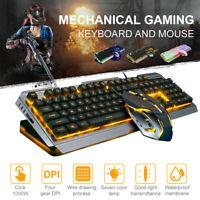 4000 DPI Wired Mechanical Gaming Keyboard Mouse Set Ergonomic Backlit Computer