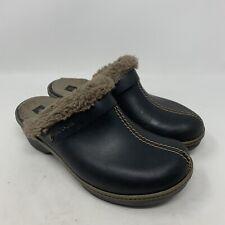 Crocs Clogs Black Eva Cobbler Wedge Heel Faux Fur Mules Shoes Womens Size 9