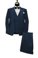 Hombre Azul Trajes de Diseño Boda Novios Cena (Chaqueta Y Chaleco + Pantalones