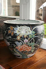 "LARGE ASIAN HANDPAINTED PLANTER URN, FLOWERS PINK ORANGE BLACK WHITE, 25"" x 21"""