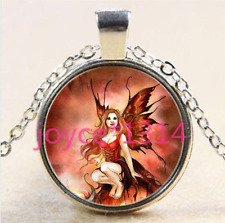 Red Butterfly Fairy Cabochon Tibet Silver Chain Pendant Necklace + Free Gift