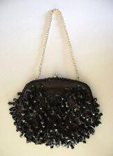 "Vintage ""Black Hand Bag"" (Clutch) [Beaded] {Hand Made}"