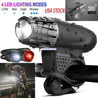 USB Rechargeable Bike Headlight LED Bicycle Front Light + 2Rear TailLight Set HD