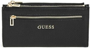 NEW GUESS Women's Black Faux Pebbled Leather Foldover Slim Double Zip Wallet