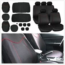 High Quality 11pcs Car Full Seat Cover Low Front Back Set Black + Red Eage