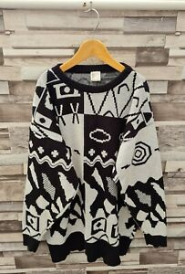 WOMENS VTG 90'S ACRYLIC YK2 ABSTRACT PATTERN BOLD COSBY KNIT WINTER JUMPER UK M