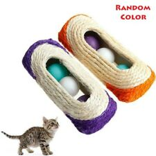 Pet Cat Kitten Kitty Toy Rolling Sisal Scratching Post 3 Trapped Ball Train Toy