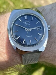 Gorgeous! Vintage 1970's Mens ROTARY Blue Dial! 21 Jewel Cal-AS 2083. OG Box!